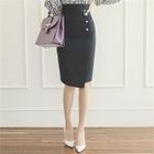 Faux-Pearl Buttoned Pencil Skirt 1596