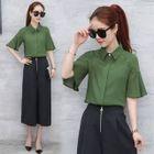 Bell-Sleeve Chiffon Shirt 1596