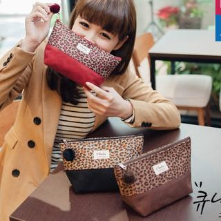 Pompom-Accent Leopard-Panel Cosmetic Bag