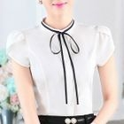 Set of 2: Bow Accent Short Sleeve Chiffon Shirt 1596