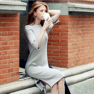 Elbow-Sleeve Ribbed Knit Dress 1045449963