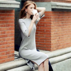 Elbow-Sleeve Ribbed Knit Dress 1596