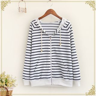 Striped Zip Hoodie 1053635118