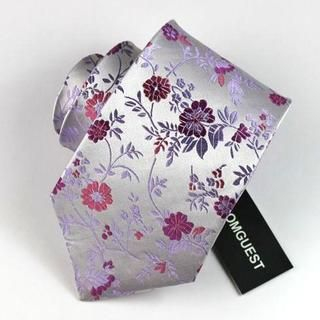 Floral Silk Neck Tie Silver - One Size