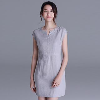 Cap-Sleeve Notched-Neck Mini Dress 1043800358