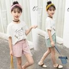Kids Set: Short-Sleeve Lettering Top + Shorts 1596