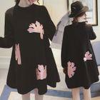 Maternity Long-Sleeve Applique A-Line Dress 1596