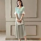 Set: Striped Ruffled Top + Maxi Skirt 1596