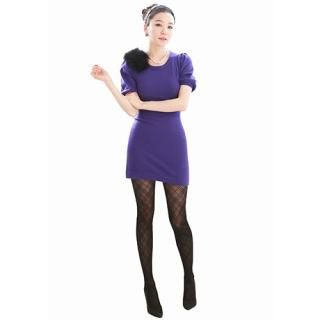 Picture of AKA Puffed Short-Sleeve Knit Dress 1021883040 (AKA Dresses, Womens Dresses, South Korea Dresses, Short-Sleeve Dresses)