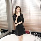 Long-Sleeve Knit Sheath Dress Black - L от YesStyle.com INT
