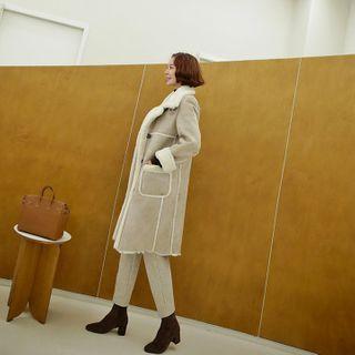 Buttoned Faux-shearling Coat