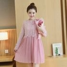 Maternity Lace Panel Pleated Chiffon Dress 1596