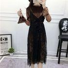 Set: Long-Sleeve Velvet Midi Dress + Strappy Lace Midi Dress 1596