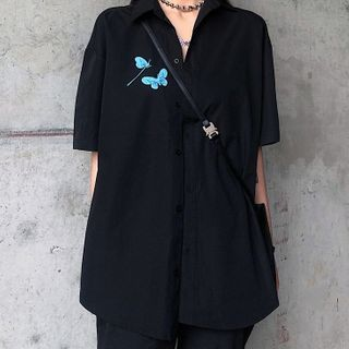 Image of Butterfly Short-Sleeve Shirt Shirt - Black - One Size