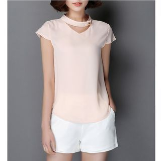 V-Neck Short-Sleeve Chiffon Blouse 1050661021