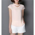 V-Neck Short-Sleeve Chiffon Blouse 1596
