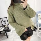 Cable-Knit High Neck Sweater 1596