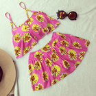 Set: Floral Print Cropped Tankini Top + Swimskirt 1596