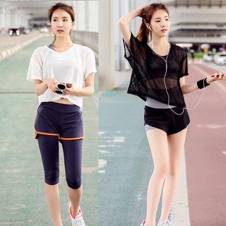 Set: Sport Bra Top + Short-Sleeve Mesh T-Shirt + Sport Shorts 1057197610