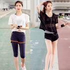 Set: Sport Bra Top + Short-Sleeve Mesh T-Shirt + Sport Shorts 1596