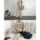 Set: Lettering Cotton T-Shirt + Drawcord Wide-Leg Pants 1596