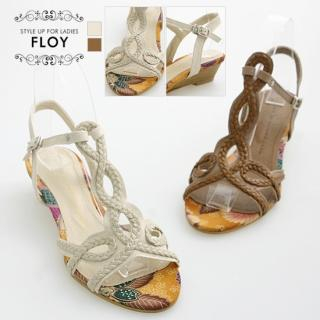 Buy FLOY SHOES Braid-Accent Wedge Sandals 1023053608