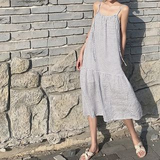Strappy | Plaid | Dress | Blue | Size | One