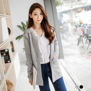 Single-Button Ribbed Textured Cardigan 1053182350