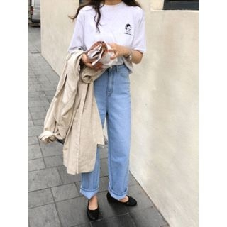 Washed Wide-Leg Jeans 1065624147