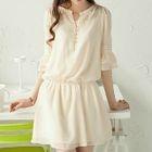 Split-neck Elbow-Sleeve Dress 1596