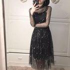 Set: Floral Print Long-Sleeve Mesh Dress + Strap Dress 1596