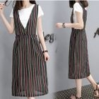 Set: Plain Short Sleeve T-Shirt + Striped Pinafore Dress 1596