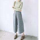 Wide-Leg Ribbed Cotton Pants 1596