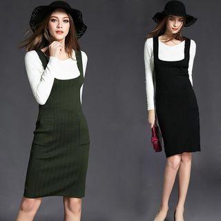 Set: Long Sleeve Knit Top + Pocketed Knit Pinafore Dress 1054084722