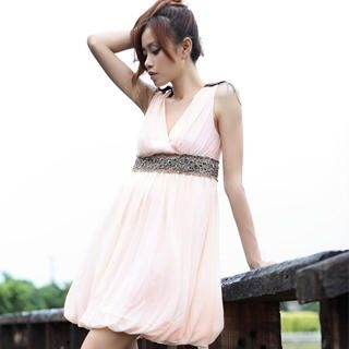 Picture of 19th Street Sleeveless Embellished V-Neck Empire Dress 1023052501 (19th Street Dresses, Womens Dresses, China Dresses, Sleeveless Dresses)