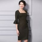 Ruffle Elbow-Sleeve Sheath Dress 1596