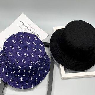 Reversible | Bucket | White | Print | Dark | Blue | Hat