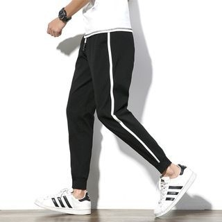 Contrast Trim Tapered Jogger Pants