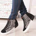 Leopard-Print Panel Hidden Wedge Sneakers 1596