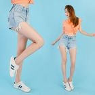 Cutout Distressed Washed Denim Shorts 1596