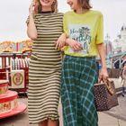 Band-Waist Striped Knit Skirt 1596
