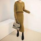 Set: Ribbed Knit Top + Ribbed Knit Pencil Long Skirt 1596