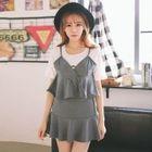 Set: Stripe Cropped Camisole Top + Ruffle Hem Mini Skirt 1596