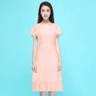 Frill Trim Short Sleeve Midi Dress 1596