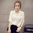 Pinstriped Split-neck Elbow-Sleeve Linen Cotton Blouse 1596