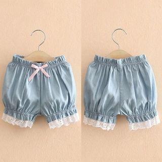 Kids Lace Trim Denim Shorts 1051587504
