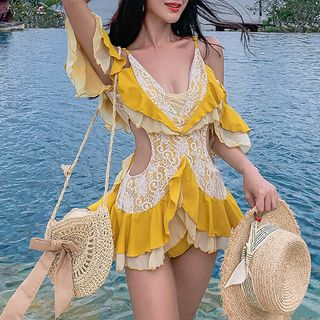 Image of Elbow-Sleeve Cold Shoulder Ruffle Lace Swimsuit