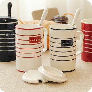 Couple Matching Stripe Ceramic Cup + Spoon 1060377782