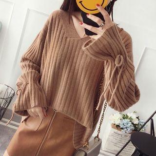 V-Neck Ribbed Sweater 1063139596