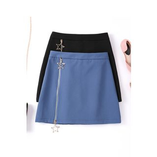 Image of Zip-Front Mini Skirt